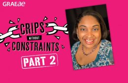 "On a pink background, the words ""Crips Without Constraints: Part 2"" are emblazoned in black and white font. On the right side of the graphic is a headshot of Leanna Benjamin, smiling in a blue blouse."