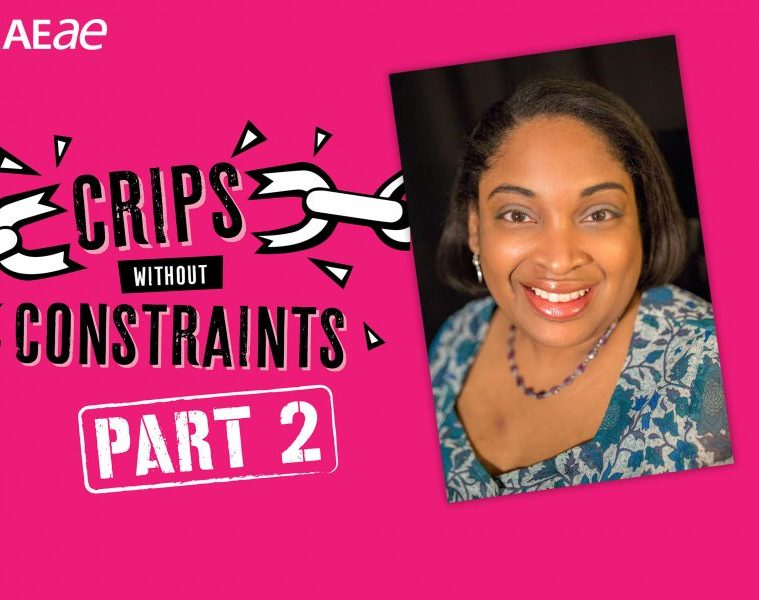 """On a pink background, the words """"Crips Without Constraints: Part 2"""" are emblazoned in black and white font. On the right side of the graphic is a headshot of Leanna Benjamin, smiling in a blue blouse."""