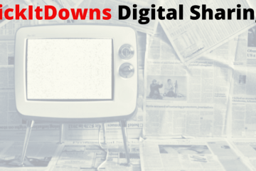 "A faint grey image of an old-school television. The words""KickDowns Digital Sharing"" are printed on the image."