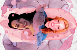 A hand drawn image. The base layer is a purple flower. Then a reflected image of two girls are layered on top of the flower. One has black hair, and one has red hair.