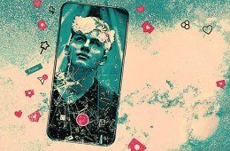 Artwork showing a cracked iPhone screen with a picture of a young man as the screensaver. The iPhone is against a teal and beige background.