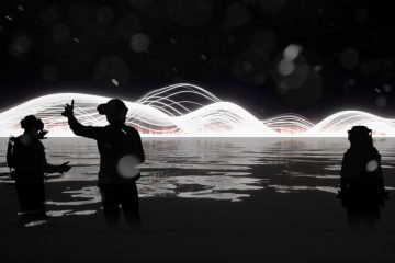 An image of three people in a dark room, wearing virtual reality headsets, surrounded by digital art.