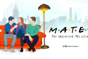 Poster for Mates with three cast members sitting on a red sofa and the font mimicking the font from the original television show