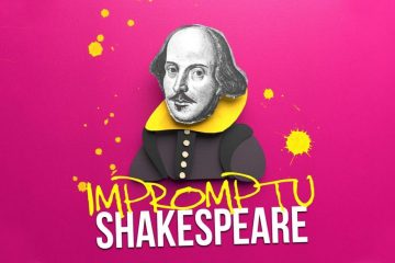 A sketch of Shakespeare against a pink background.