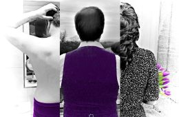 A collage of three people who stand with their backs to us