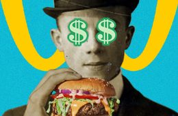 A black and white picture of a man holding a burger and with dollar signs over his eyes