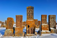 Khachkars or Armenian Cross stones are memorial tablets that are found in graveyards and churches across the country