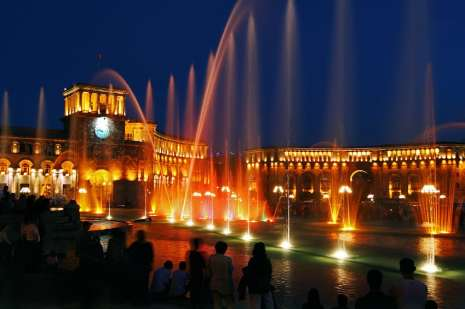 Republic Square with its musical fountains
