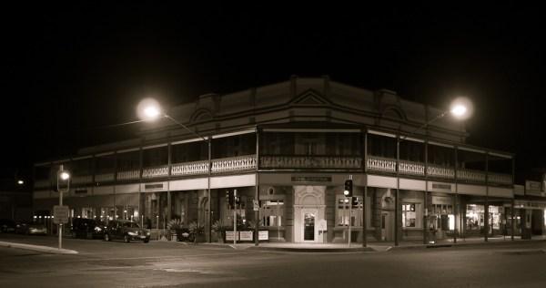 a Broken Hill pub at night