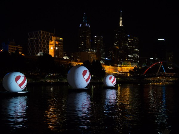 projected love messages on the Yarra River