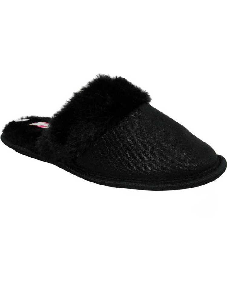 Low Wedge Shoes | Ladies Low Wedge Faux Fur Satin Mule Comfort Slippers