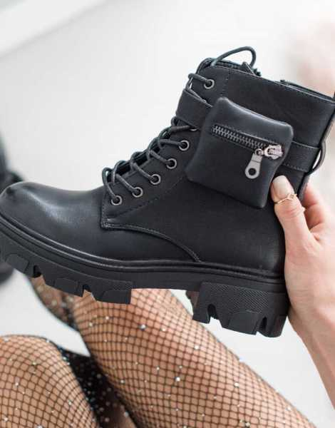 Ladies Black Leather Ankle Boots