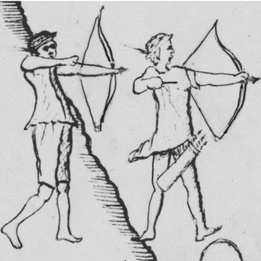 "Piman warriors using a recurved bow drawn by Father Kino on the 1696–1697  ""Saeta martyrdom map"""
