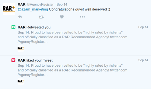The Recommended Agencies Register (RAR) congratulating Azam on Twitter for being listed in their directory of the most highly rated agencies. Click here to see larger image