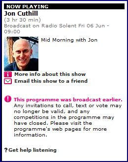 Jon Cuthill is a popular morning presenter on BBC Radio Solent. Nadeem appeared on end of previous broadcaster's show until 9am and then Jon Cuthill's from 9am onwards (click to listen)