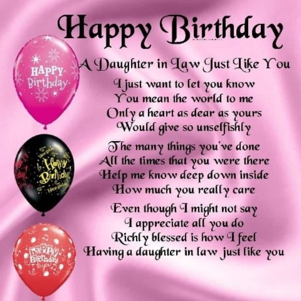 28 Warm Birthday Wishes For Daughter In Law