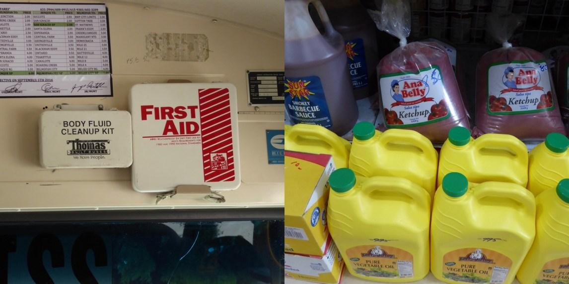 Body fluid cleanup kit...?!?! Voor bloed of als iemand zijn 3,628 kg ketchup zak laat vallen... San Ignacio