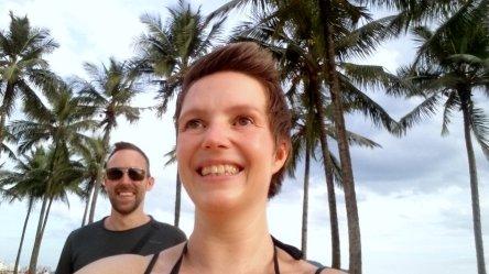 Hep'ie us op het strand van Santos. Brazilië
