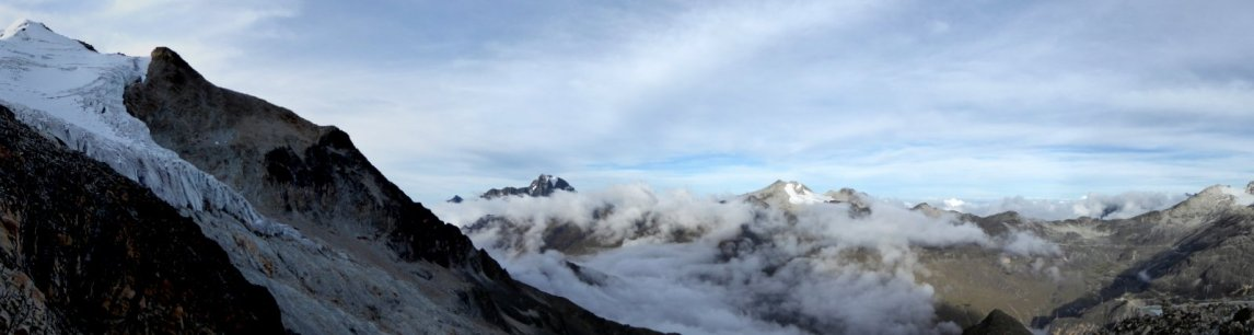 Uitzicht vanaf de high camp. Huayna Potosí