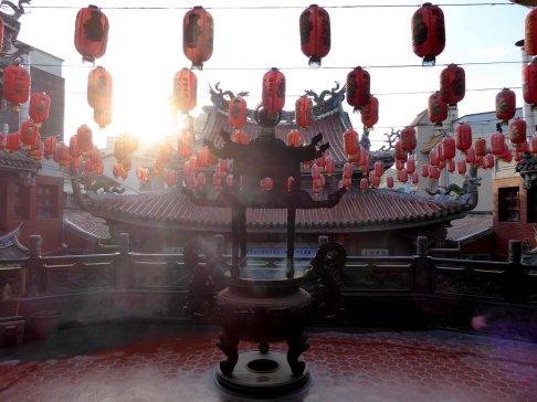 Lampionnen met zonlicht. Lukang Mazu Temple