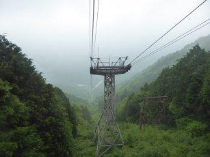 Handig zo'n kabelbaan die je de eerste 1300m omhoog brengt! Maar dan moet je nog steeds 800m zelf omhoog... Mount Ishizuchi, Japan