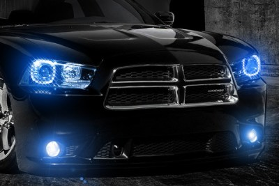 Custom Lighting - Black Charger with Blue Lights