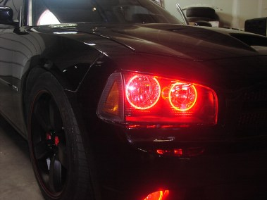 Custom Lighting - Black Charger with Red Headlights
