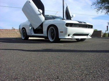 Customized White Challenger with Wing Doors