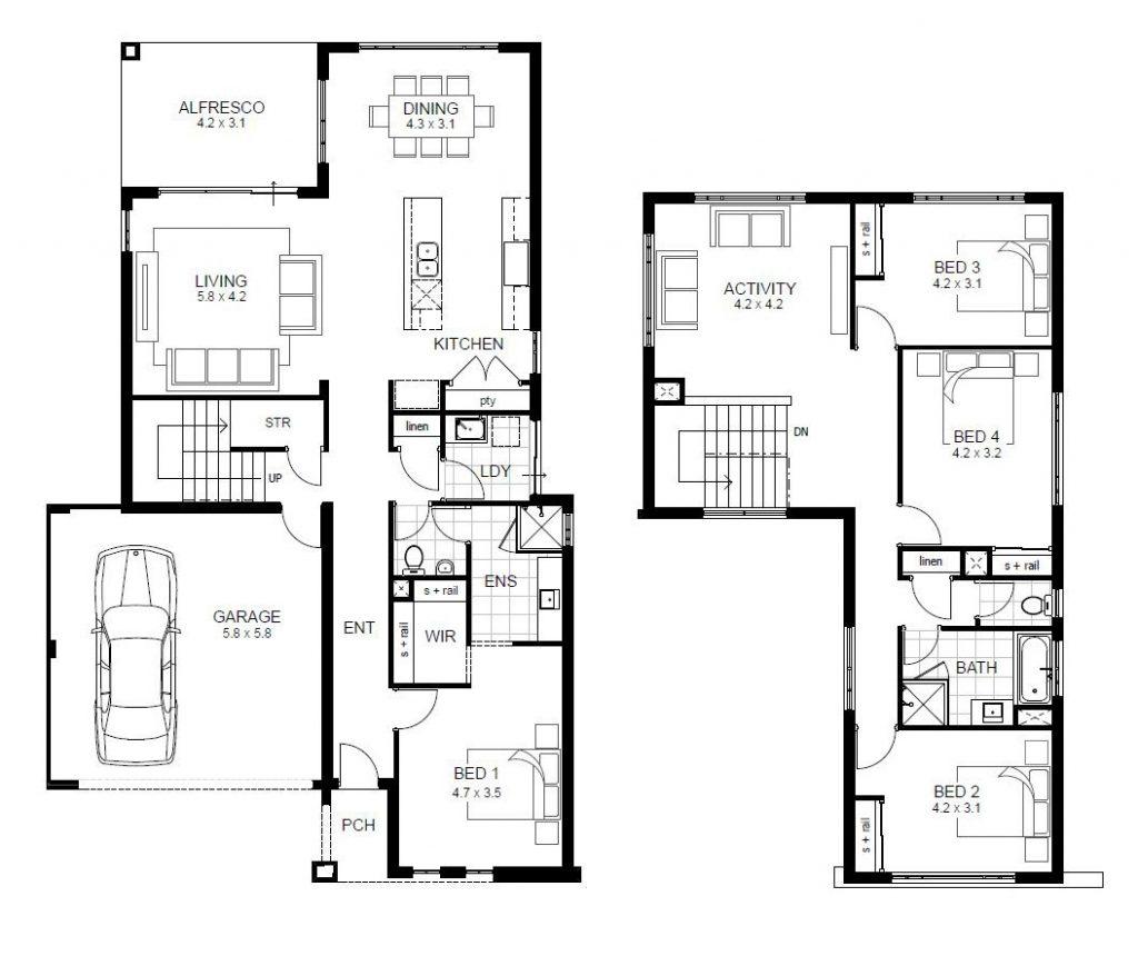Lovely 2 Story 4 Bedroom House Floor Plans