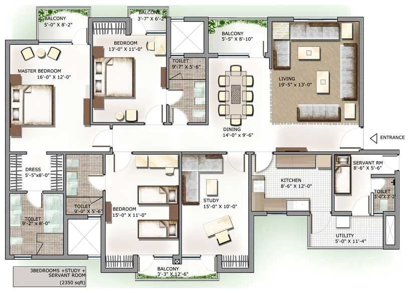 Awesome 4 Bedroom House Plans In India New Home Design