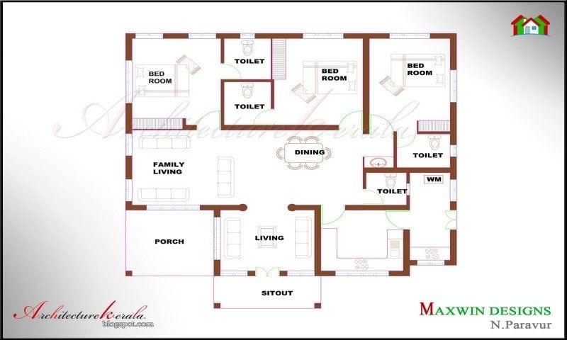 Single Floor 4 Bedroom House Plans Kerala Unique Style