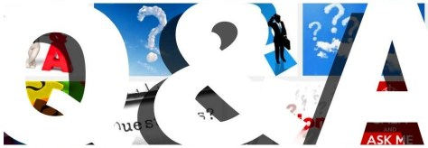 Q&A Questions and Answers header banner heading big bold white letters font heading pics image