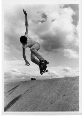 Circa mid 1980's - Patrick McGinnis Backside Ollie at Hohokam banks in Tempe. Bullet board, Indy Trucks, Blackhart wheels.Photo:DonRedondo Image 8 of 13-Download