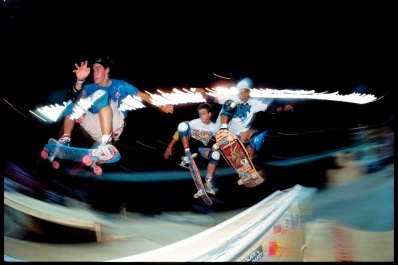 Doug Smith, Mark Gonzales and Steve Caballero all ollieing in the 1980s over a street obstacle at a contest Photo: Brittain