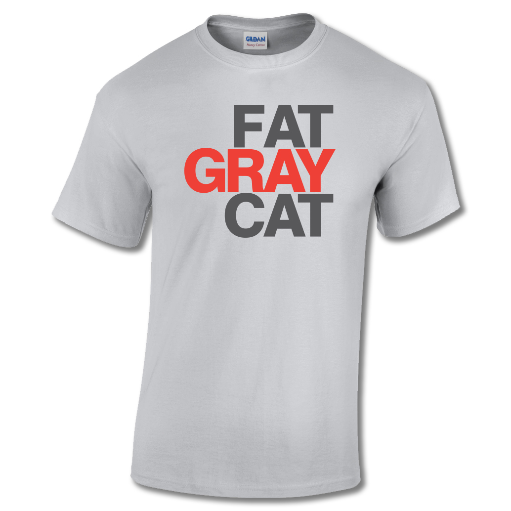 Fat Gray Cat T-shirt Ice Gray