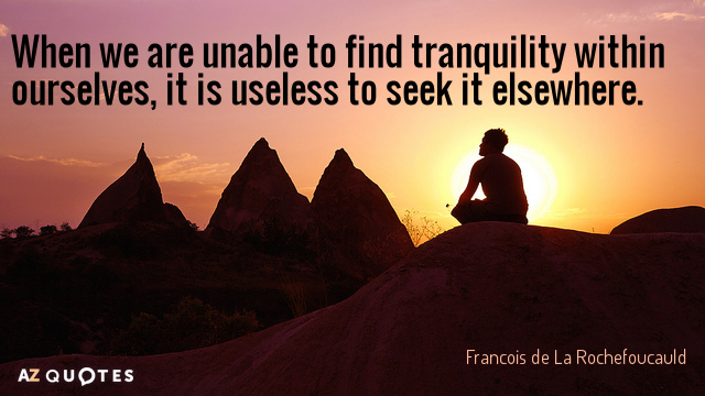 TOP 25 SINGLE QUOTES  of 127    A Z Quotes Francois de La Rochefoucauld quote  When we are unable to find tranquility  within ourselves