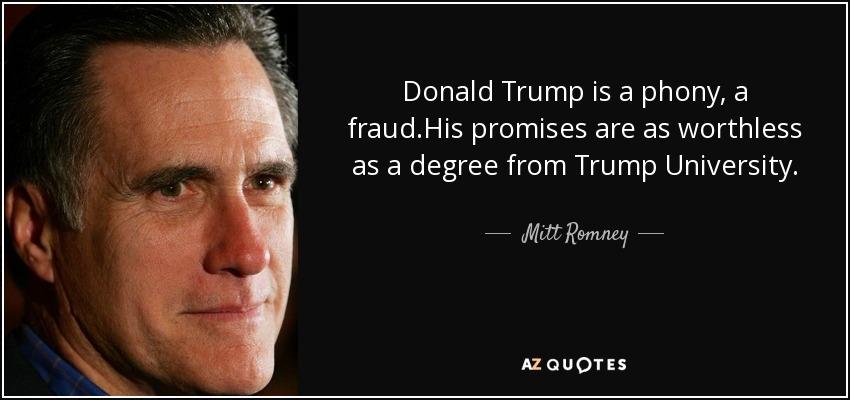 Image result for mitt romney trump quote