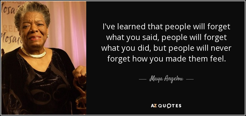 Image result for maya angelou quote - people will forget what you said