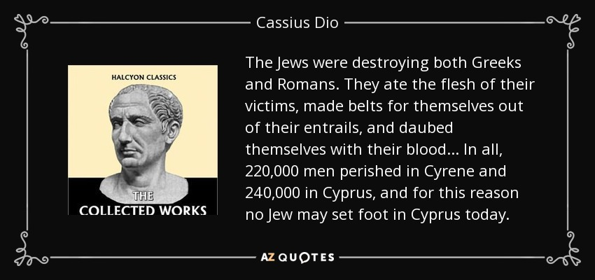 Image result for dio cassius on jews