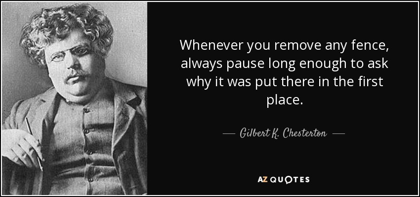 Image result for G. k. cHESTERTON QUOTE IMAGES fences