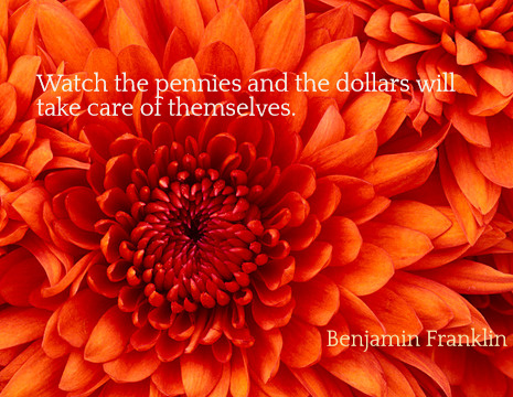 Watch the pennies and the dollars will take care of themselves. - Benjamin Franklin