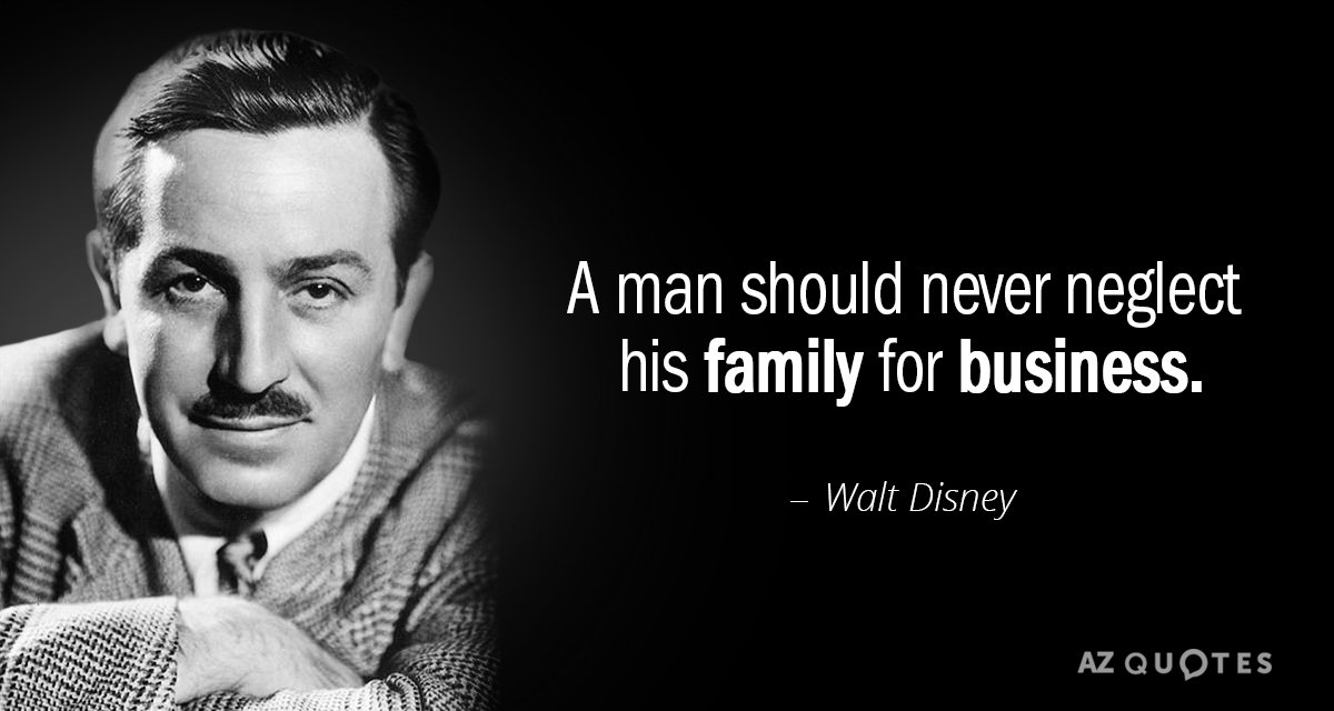 TOP 25 QUOTES BY WALT DISNEY  of 395    A Z Quotes Walt Disney quote  A man should never neglect his family for business