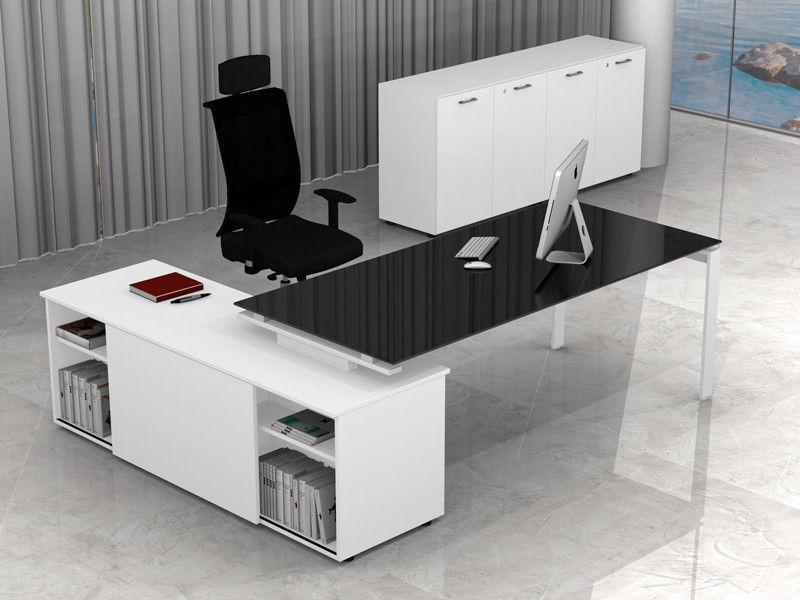 Mobile A Scrivania.Arredo Ufficio Metallo E Vetro Direzionale Con Mobile E Scrivania Scacco Evo