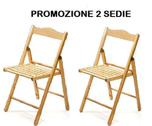 Sedie Pieghevoli Di Legno.Set 2 Sedie Pieghevoli In Legno Naturale Az Sconti