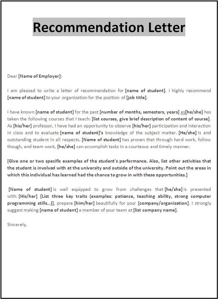 College Letter Of Recommendation Resume Template. resume format ...