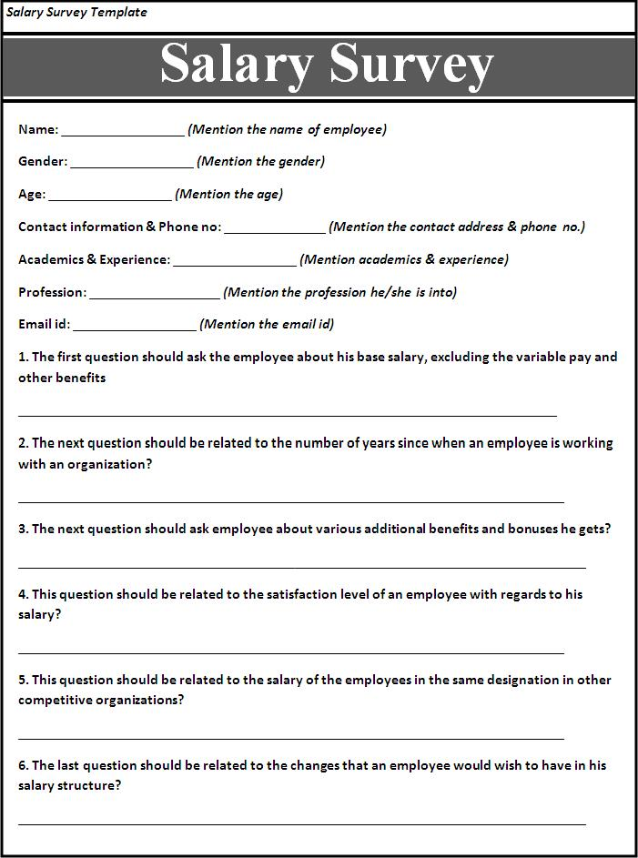 Survey Templates Free. Salary Survey Template Free Printable Word