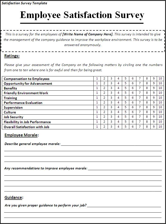 Satisfaction Survey Template top 5 resources to get free – Sample Employee Satisfaction Survey