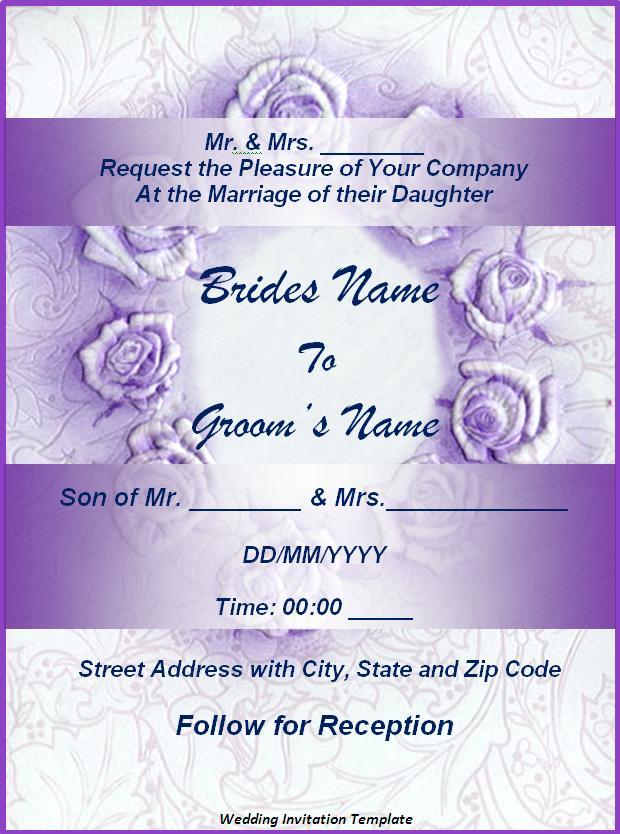 Professional Invitation Templates wedding invitation templates – Prepare Wedding Invitation Card Online Free