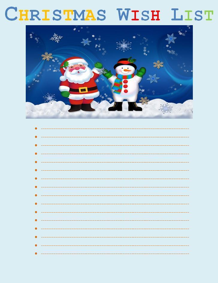 Xmas List Template santa wish list for kids kids christmas wish – Xmas Wish List Template