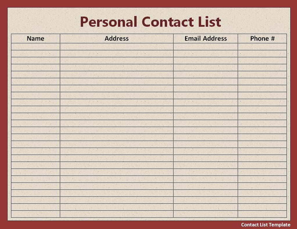 Excel Contact List Template for description about this see – Contact Book Template